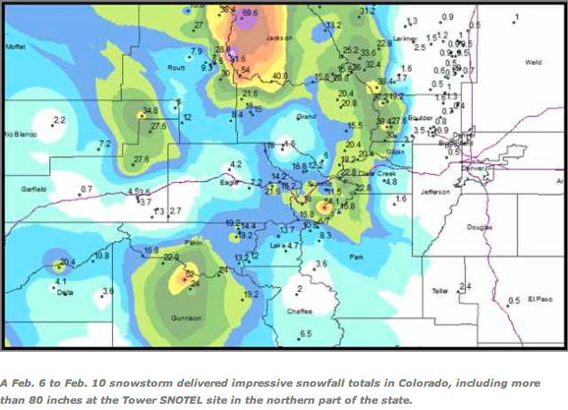 Map of snowfall totals from February 6, 2014 storm via @CopperCondos