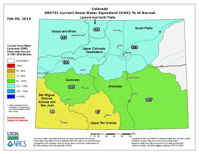 Snow Water Equivalent as a percent of normal February 6, 2014 via the NRCS