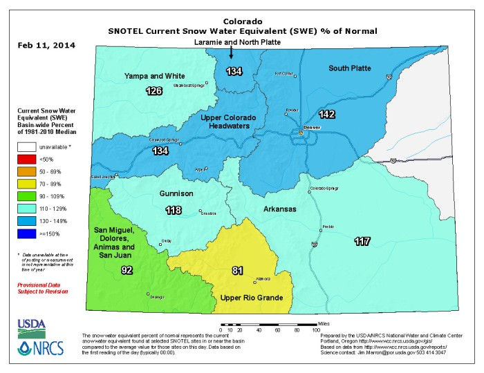 Snow Water Equivalent as a percent of normal February 11, 2014 via the NRCS