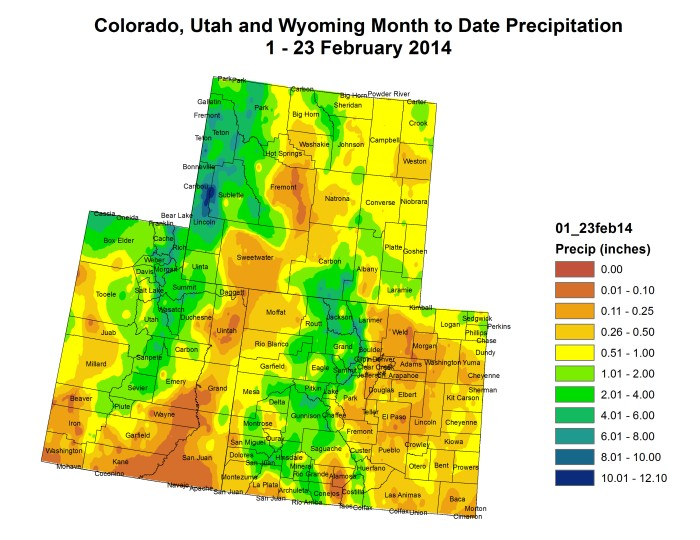 Upper Colorado River Basin February 2014 month to date precipitation map via the Colorado Climate Center