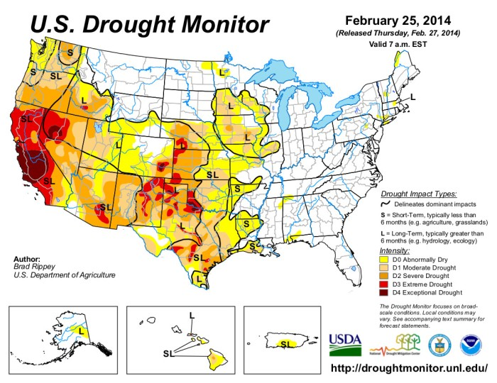 US Drought Monitor February 25, 2014