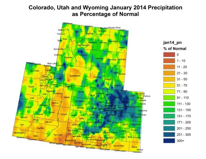 Upper Colorado River Basin precipitation as a percent of normal January 2014