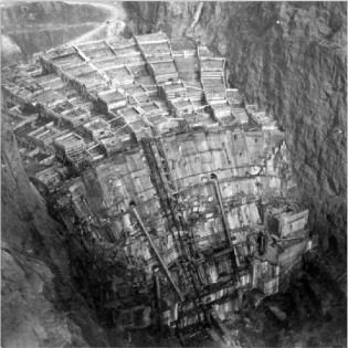 Hoover Dam during construction