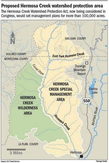 Proposed Hermosa Creek watershed protection area via The Durango Herald
