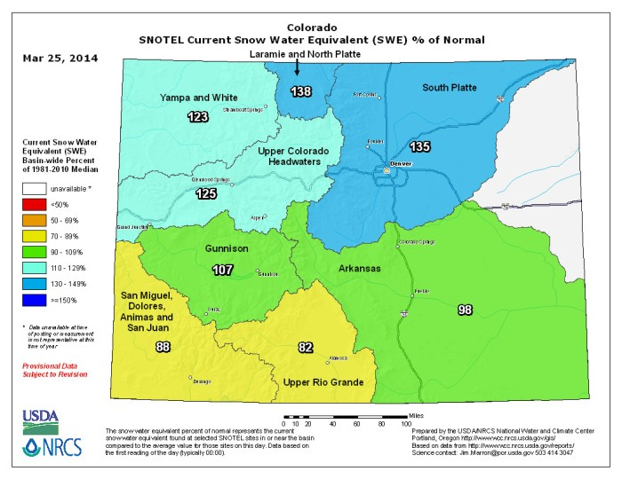 Statewide snow water equivalent as a percent of normal March 25, 2014 via the NRCS