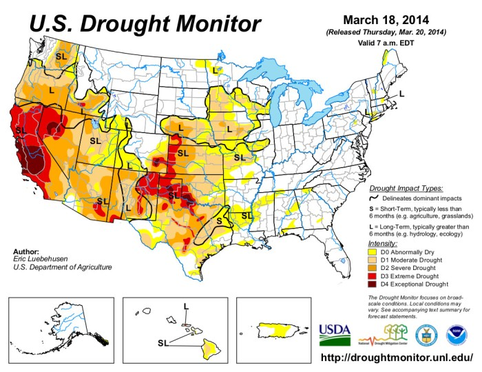 US Drought monitor March 18, 2014