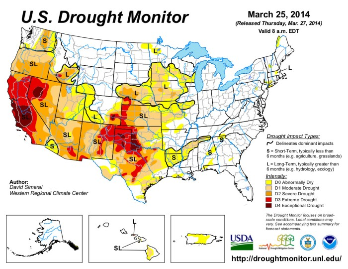 US Drought Monitor March 25, 2014