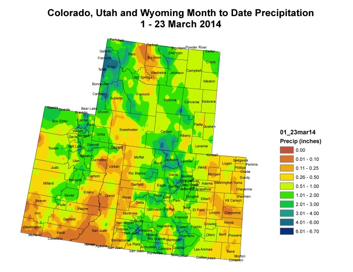 Upper Colorado River Basin March 1 - 23 month to date precipitation via the Colorado Climate Center