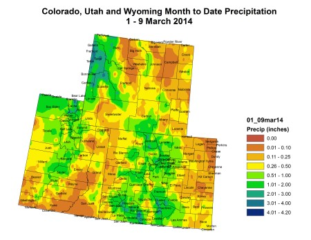 Upper Colorado River Basin month to date precipitation map March 1 thru March 9, 2014 via the Colorado Climate Center