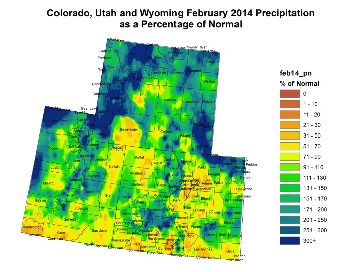 Upper Colorado River Basin February 2014 precipitation as a percent of normal