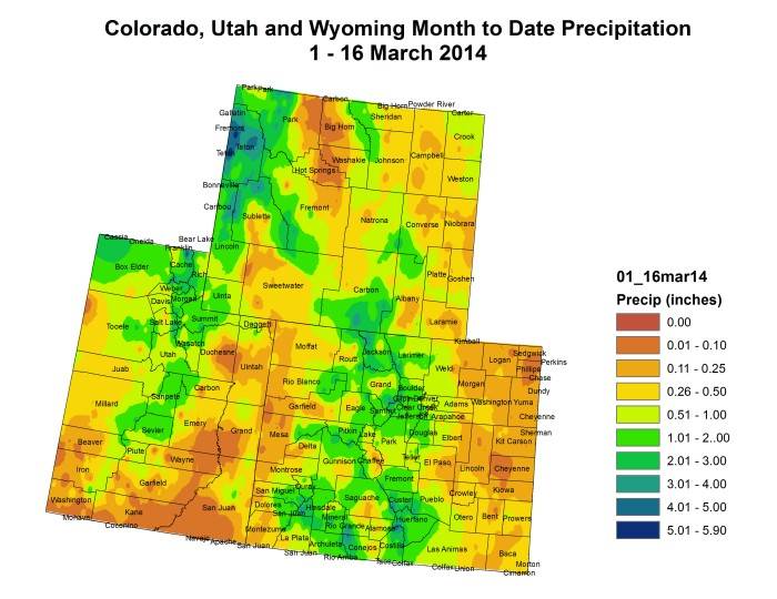 Upper Colorado River Basin month to date precipitation March 1-16, 2014 via the Colorado Climate Center