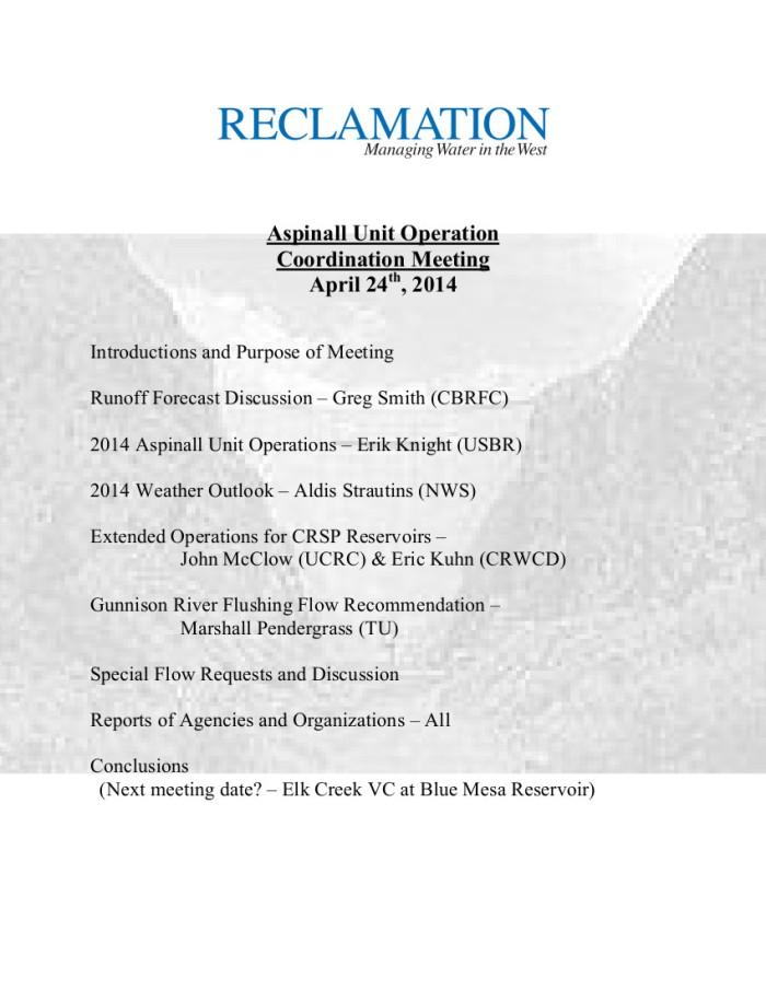 Apr 2014 Agenda