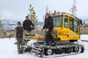 Per Olsson, Jones Pass caretaker; Brian Clark, equipment operator; Tim Holinka, assistant district foreman on the Arrow snow course near Winter Park.