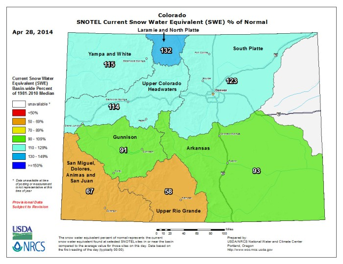 Statewide snow water equivalent as a percent of normal April 28, 2014 via the NRCS