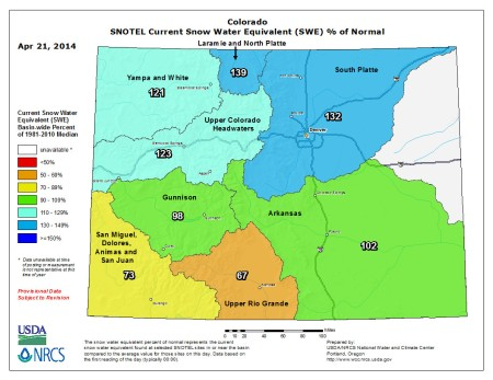Statewide snow water equivalent as a percent of normal April 21, 2014 via the NRCS