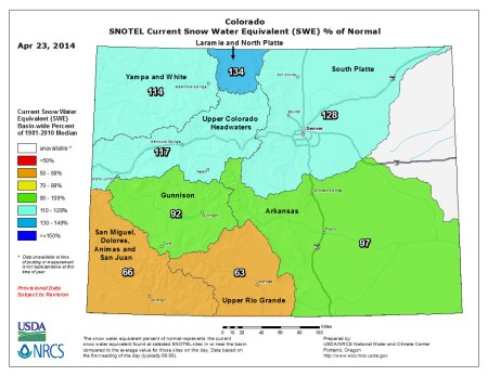 Statewide snow water equivalent as a percent of normal April 23, 2014 via the NRCS