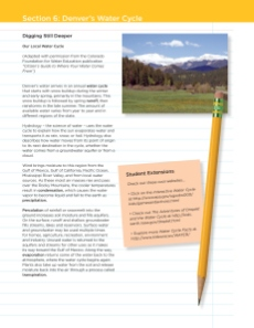 Denver Water's teacher resource packet illustrated the water cycle from a local viewpoint.