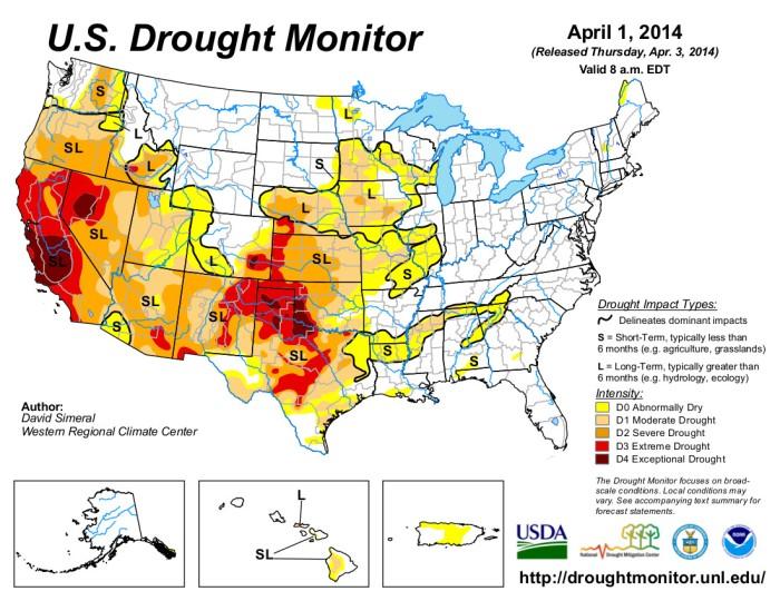 US Drought Monitor April 1, 2014
