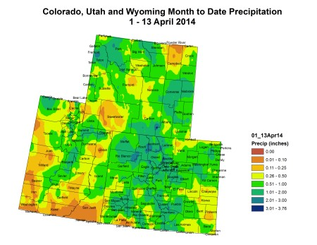 Upper Colorado River Basin month to date precipitation through April 13, 2014 via the Colorado Climate Center