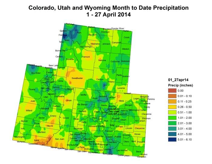 Upper Colorado River Basin month to date precipitation April 1 to April 27, 2014 via the Colorado Climate Center