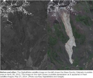 Grand Mesa mudslide before and after via The Denver Post