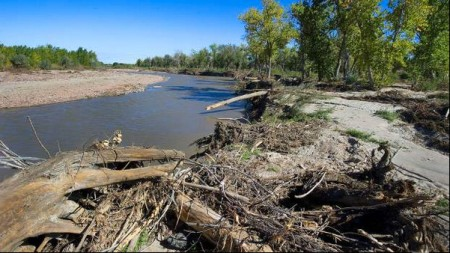 Fountain Creek flood debris May 2014 via The Pueblo Chieftain