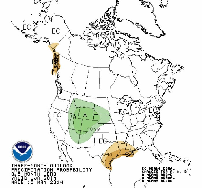 June, July, and August precipitation outlook via the Climate Prediction Center