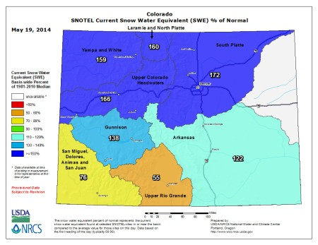 Statewide snow water equivalent as a percent of normal May 19, 2014 via the NRCS