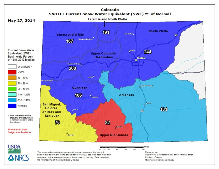Statewide snow water equivalent as a percent of normal May 27, 2014 via the NRCS