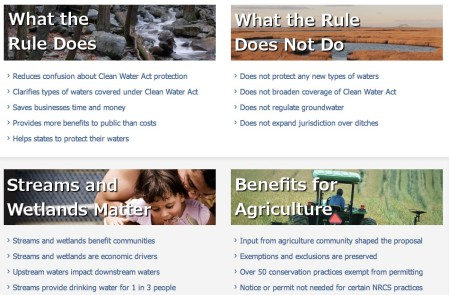 Screen shot from the EPA's Waters of the US website May 9, 2014