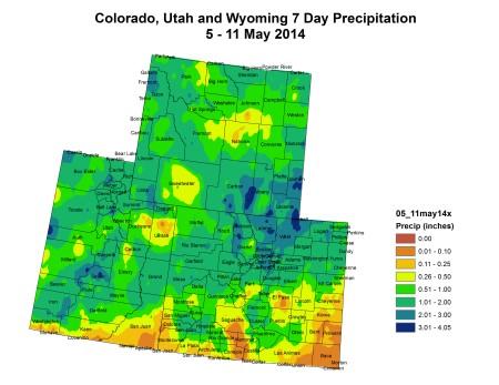 Upper Colorado River Basin precipitation May 5 to May 11, 2014