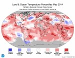 Land and Ocean Temperature Percentiles May 2014 via NOAA Climatic Data Center