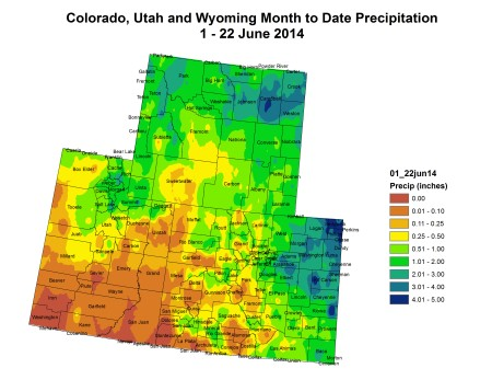 Upper Colorado River Basin month to date precipitation May 22, 2014 via the Colorado Climate Center