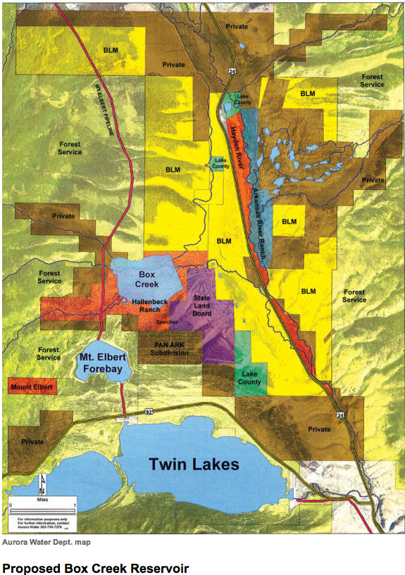Proposed Box Creek Reservoir map including wetland mitigation area in red