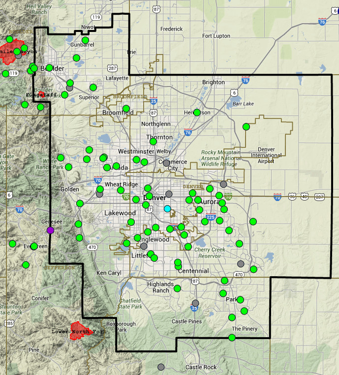 Urban Drainage and Flood Control District real-time flood map July 29, 2014