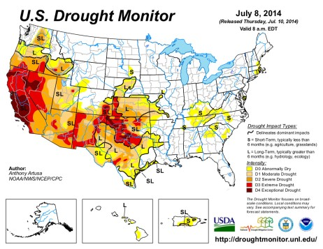 US Drought Monitor July 8, 2014