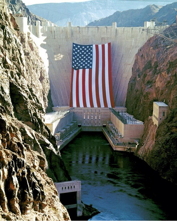 US Flag at Hoover Dam as the Olympic Torch passed over the dam in 1996