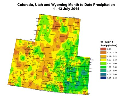 Upper Colorado River Basin month to date precipitation July 1 to July 15, 2014 via the Colorado Climate Center