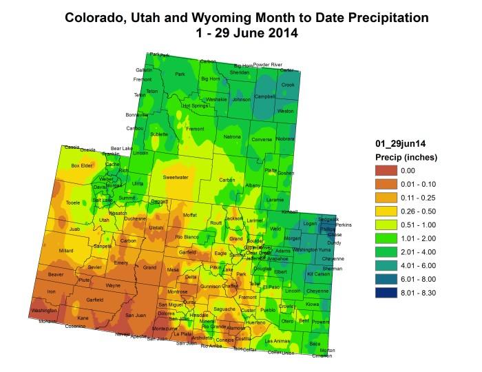 Upper Colorado River Basin month to date precipitation thru June 29 via the Colorado Climate Center