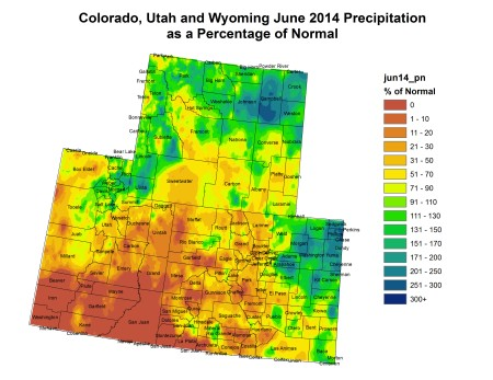 Upper Colorado River Basin June 2014 precipitation as a percent of normal via the Colorado Climate Center