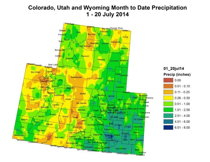 Upper Colorado River Basin month to date precipitation July 1 thru July 20, 2014