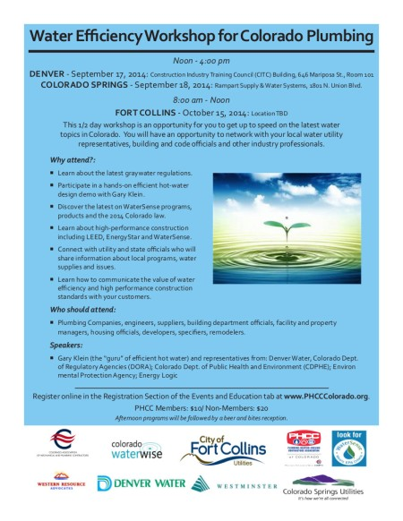 Water Efficiency Workshop for Colorado Plumbing