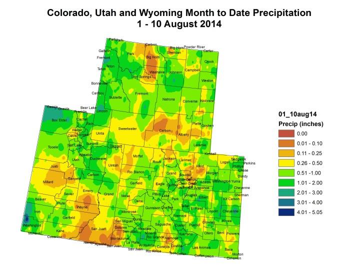 Upper Colorado River Basin month to date precipitation August 1 to August 10, 2014 via the Colorado Climate Center