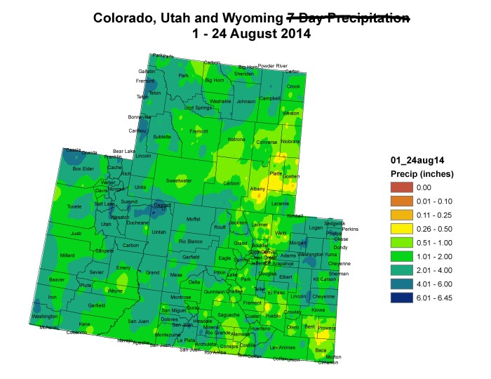 Upper Colorado River Basin month to date precipitation August 24, 2014 via the Colorado Climate Center