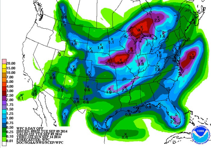 Five-day QPF September 9, 2014 via NOAA