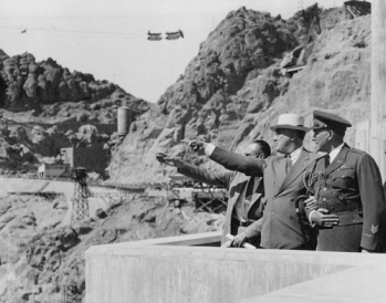 President Franklin Roosevelt at dedication of Boulder (now Hoover) Dam, September 30, 1935