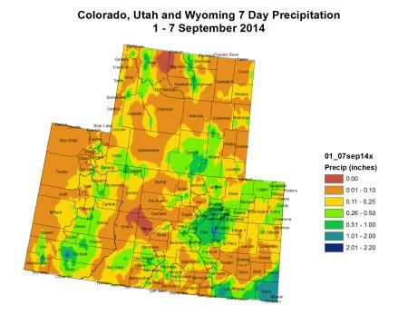 Upper Colorado River Basin 7-day precipitation August 1 -7, 2014