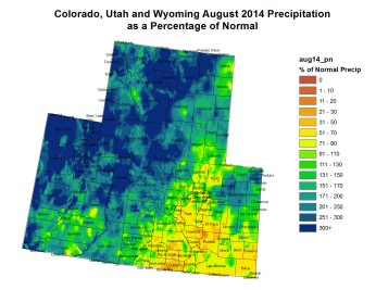 Upper Colorado River Basin August 2014 precipitation as a percent of normal