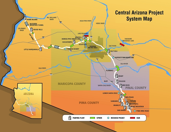 Central Arizona Project map via Mountain Town News