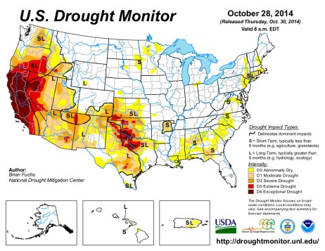 US Drought Monitor October 28, 2014